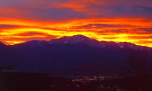 Denver Broncos Orange and Blue Sunset